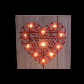 quadro de madeira heart com led vermelho villa store 4693 1a