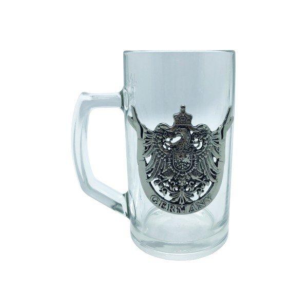 caneca de vidro para chope brasao metal villa store 4072