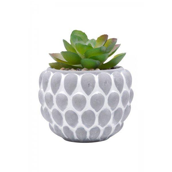 urban vaso concreto com planta artificial pine shell cinza 5810