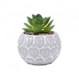 vaso concreto com planta artificial heart shell cinza 5807