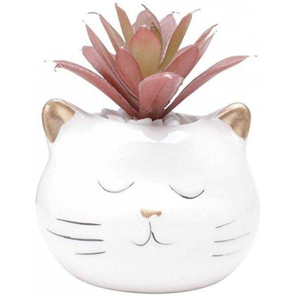 cachepot mini de ceramica gato 5824