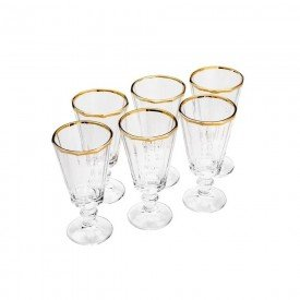 jogo de taca para licor de cristal filete ouro 50ml villa store 5966