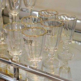 06 tacas para licor cristal c filete de ouro wolff 50ml 5966 4