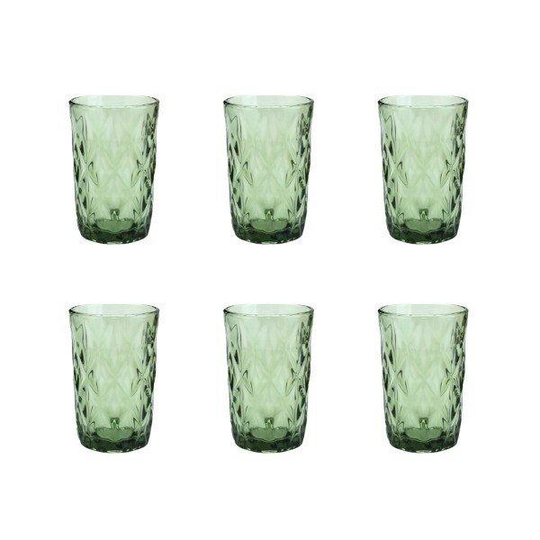 jogo de copo alto vidro diamond verde 6064 villa store d